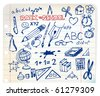Back to school - set of school doodle illustrations - stock vector