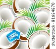Background from coconut with the arrow by organic food. Vector illustration. - stock vector