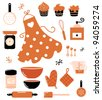 Baking icons or accessories set isolated on white ( orange ) - stock vector