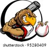 Baseball Cartoon Early Bird Batter with Bat and Ball with Worm Vector Illustration - stock vector