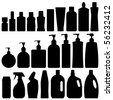 Bathroom Silhouette Set Vector - stock vector