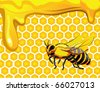 Bee with drops of honey and honeycomb hexagon shapes - stock vector
