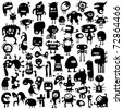 Big collection of cartoon funny monsters silhouettes - stock vector