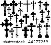 Big collection of vector isolated christian crosses - stock vector