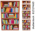 Bookshelf: Cartoon illustration of a bookshelf in 5 different versions.  No transparency used. Basic (linear) gradients used. - stock vector