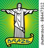 Brazil design - Christ the Redeemer statue (Stylized illustration of Jesus Christ, Rio de Janeiro) - stock vector