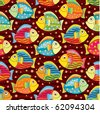 bright joyful fishes in pattern - stock vector