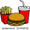 burger fries and beverage - stock vector
