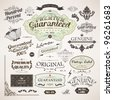 Calligraphic design elements, flowers and retro frames, Premium Quality and Satisfaction Guarantee vintage design Labels. Old style set, vector collection. - stock vector