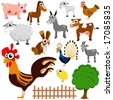 cartoon farm animals vector - stock vector
