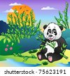 Cartoon panda in bamboo forest - vector illustration. - stock vector