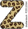 cheetah fur font alphabet z - stock vector