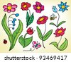 Childish drawings of flowers, bugs colored in scribbled lines - stock vector