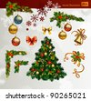 Christmas vector set of fir tree and evening balls,  new year's  corners  and festive bell - stock vector