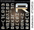Chrome typeface. Sky reflected. File contains graphic styles available in the Illustrator 10 + You can apply the styles to any of you own fonts or objects - stock vector