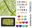 City Map With GPS Icons, Vector Illustration - stock vector