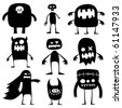 Collection of cartoon funny Halloween monsters silhouettes - stock vector