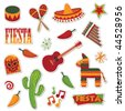 collection of mexican stickers isolated on white - stock vector