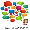 Colored Speech Bubbles and Girl Avatar - stock vector