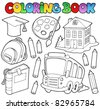 Coloring book school cartoons 9 - vector illustration. - stock vector