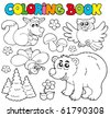 Coloring book with forest animals 1 - vector illustration. - stock vector