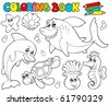 Coloring book with marine animals 2 - vector illustration. - stock vector