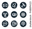 Communication web icons, grunge circle buttons - stock vector