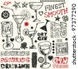 crazy gin drinking doodles, hand drawn design elements - stock vector