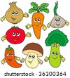 Cute cartoon vegetable collection - vector illustration. - stock vector