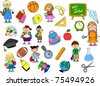 cute schoolboys and schoolgirls, School elements, - stock vector