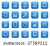 Database web icons, blue square buttons with dots - stock vector
