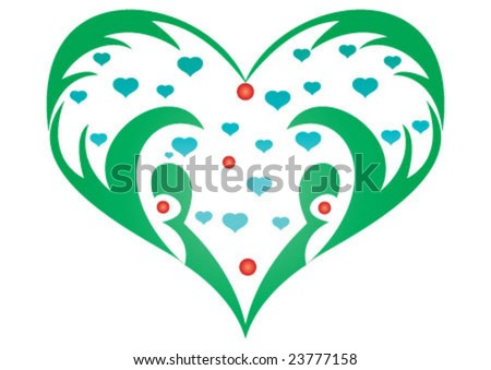 Decorative wallpaper design in heart shape stock image