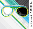 Designed abstract banner with sunglasses. Vector illustration. - stock vector