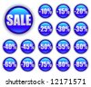 discount sales; shiny round blue web buttons - stock vector