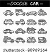 doodle cartoon car icon set - stock vector