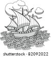 drawing old sailing ship, designed as woodcut 1 - stock vector