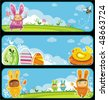 Easter cute banners with space for your text - stock vector