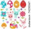 Easter icon set - stock vector