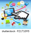 Education,school,tablet pc,cloud computing concept - stock vector