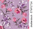 Elegance Seamless wallpaper pattern with of pink flowers on violet background, floral vector illustration - stock vector