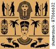 elements of the Egyptian decorative patterns, heads of Nefertiti and masks of pharaoh on a beige background - stock vector