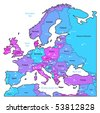 Europe map of blue, pink, violet colors. Names, town marks and national borders are in separate layers. Vector illustration. - stock vector