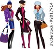 fashion women in winter clothes - stock vector