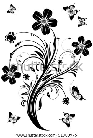 Floral ornament with butterfly, element for design, vector ...