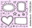 Frames and Borders Hand-Drawn Sketchy Ornamental Notebook Doodles Picture Frame Set- Vector Illustration Design Elements on Lined Sketchbook Paper Background - stock vector