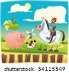 Funny farmer with animals. Cartoon and vector illustration. Objects isolated. - stock vector