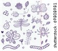 Funny insects - cute doodle set scrapbook page - stock vector