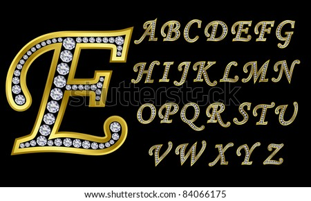 Z Alphabet In Diamond Golden alphabet with diamonds, letters from A to Z, vector ...