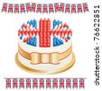 great britain cake with banners isolated on white - stock vector