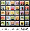 Group of business and office people photos on black background. Vector Icons. - stock vector